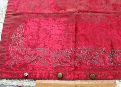 Antique c1870 Worn Christmas Red French Cotton Silk Velvet With Embroidery~25X22