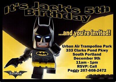 10 LEGO BATMAN A2 Invitations w/ envelopes INVITES Birthday party - Batman Lego Invitations