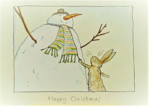 Art Greeting Card Christmas Snowman Rabbit Bunny Anita Jeram Watercolor