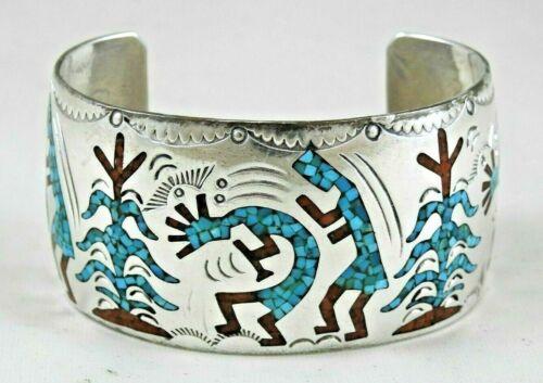 Navajo Turquoise & Coral Chip Inlay Cuff Bracelet Kokopelli & Corn Stalk, B. Ben