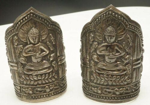 ANTIQUE VINTAGE CHINESE 999 SILVER CUFF BRACELETS REPOUSSE MARKED HEAVY RELIEF