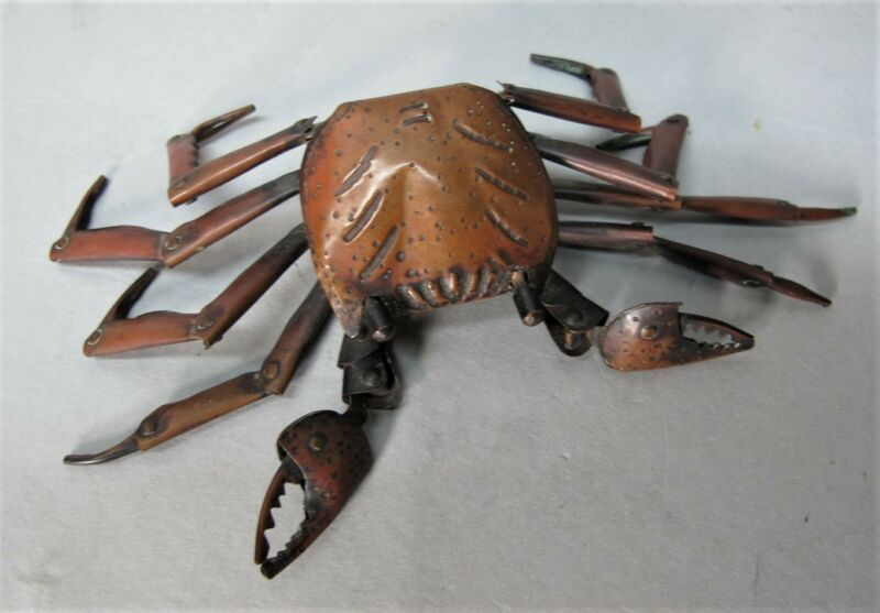 Fine JAPANESE MEIJI-ERA Copper Articulated of a Crab, Signed HIROYOSHI  c. 1880