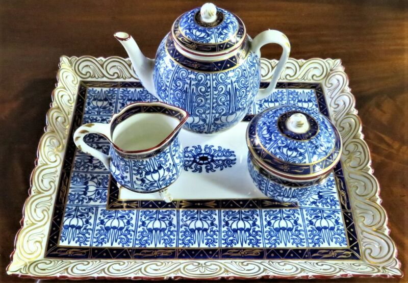 "STUNNING 1877 RARE ROYAL WORCESTER ""ROYAL LILY"" TEA SET W/ TRAY EXCELLENT COND."