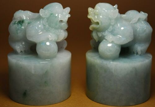CHINESE JADE Large Well-Carved JADEITE Guardian Lion Pair (Foo Dogs) MUST SEE !!