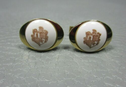 Vintage Porcelain Heraldic Crest Yellow Gold Plated Cuff Links