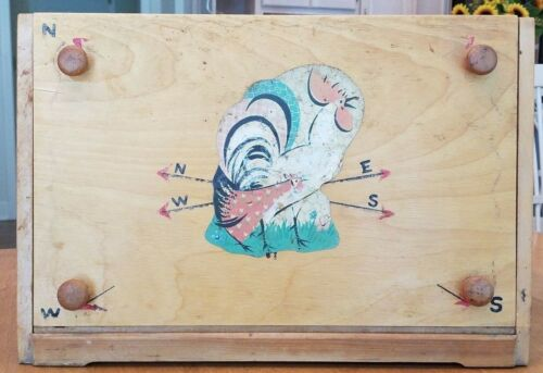 Vintage Redbird Line Rooster Wooden Bread Box Farmhouse Country Kitchen
