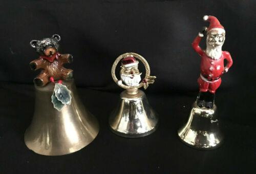 Set of 3 Enamel Christmas Metal Bells Santa Clause, Santa Wreath, Teddy Bear