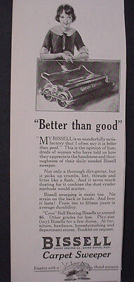1925 Bissell Carpet Sweeper 'Better than Good' Vintage Print Ad