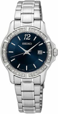 SEIKO WOMEN'S 28MM STEEL BRACELET & CASE QUARTZ BLUE DIAL ANALOG WATCH SUR721