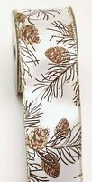 "2.5"" Wired Pine Cone Ribbon 10 Yard Bolt HALF PRICE"