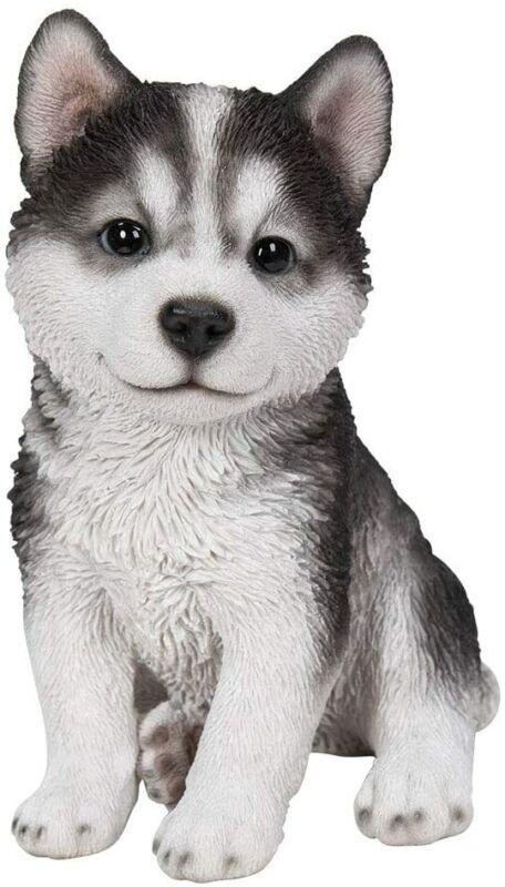 "Ebros 6.75""H Realistic Animal Sitting Husky Puppy Collectible Decor Figurine"