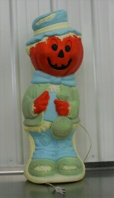 "Halloween Pumpkin Head Scarecrow JOL Blow Mold 33"" Light Yard Decoration Display"