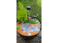 Large plastic barrel style Fairy garden