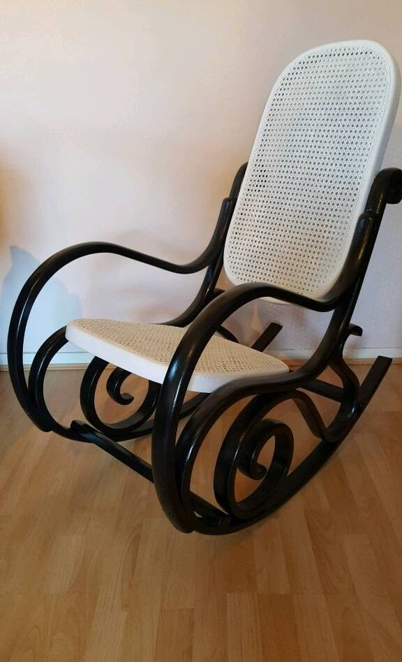 Monochrome/black and white, hand painted vintage, retro rocking chair