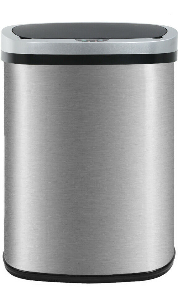 New 13-Gallon Touch-Free Sensor Automatic Stainless-Steel Trash Can Kitchen  50R General Household Supplies
