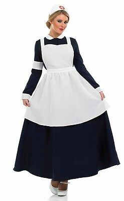 Damen 1. Weltkrieg Ww2 Alt Viktorianisch Krankenschwester Kostüm Outfit UK 8-26 ()