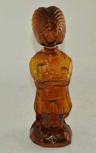 """Vintage Amber Glass Indian Shaped Bottle 12"""" Tall J.S.N.Y. 1974 Made in Taiwan"""