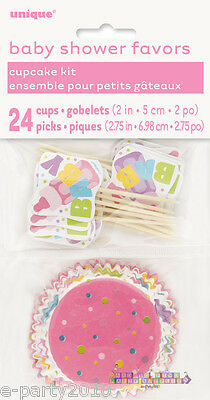 Baby Shower Cupcakes For Girl (BABY SHOWER PINK CUPCAKE KIT for 24 ~ Party Supplies Girl Baking Liners)