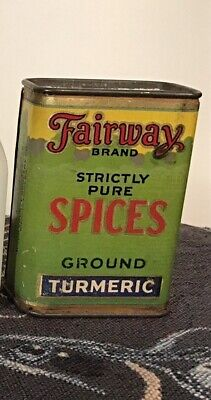 Vintage Fairway Brand Spice Tin Tumeric Old Lovely Colors