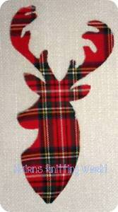 1-x-8in-Scottish-Stag-Head-Red-Tartan-Cotton-fabric-Iron-Sew-Cut-Out-Applique-1