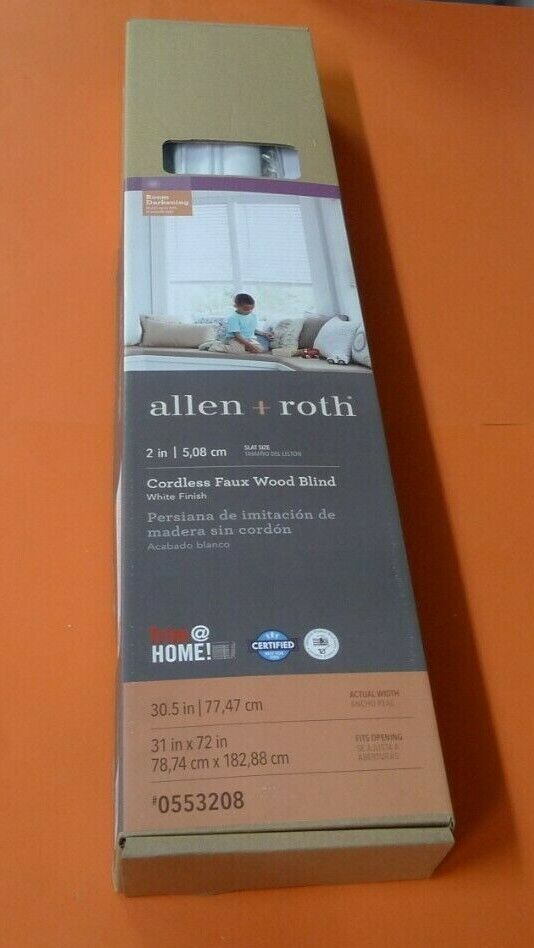 "NEW Allen + Roth Cordless 2"" Faux Wood Blinds White 31"" x 72"