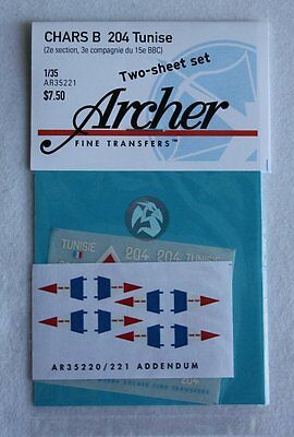 Archer Fine Transfers 1/35 Chars B 204 Tunisie Vehicle Markings Ar35221