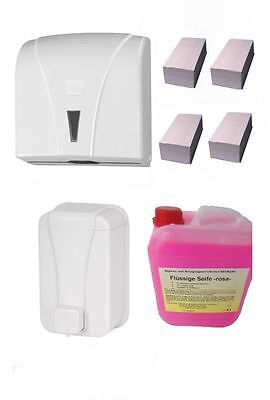 Handtuchspender+Seifenspender+Seife+Papierhandtuch SET