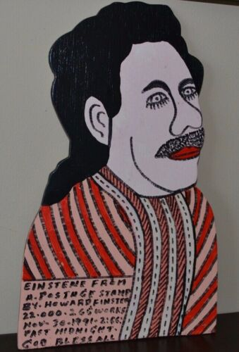 Howard Finster - Einstein From A Postage Stamp - Wooden Cut-Out Painting 1991