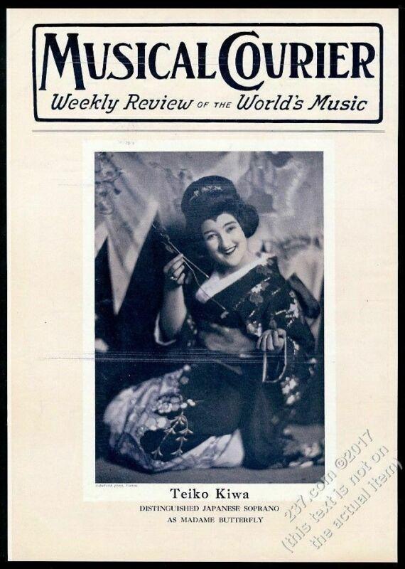 1927 Teiko Kiwa photo opera star Musical Courier framing cover