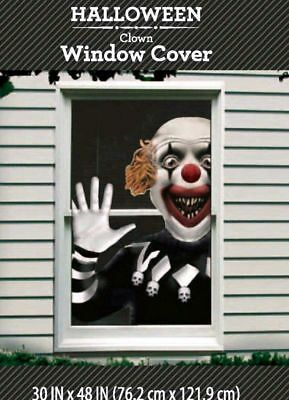 Halloween Scary Clown Window Cover or Wall Decoration Scene Setter Dorm Decor