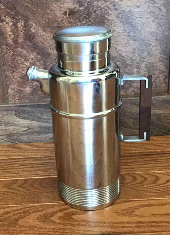Mid Century Modern Chromium Cocktail Shaker with Wood Handle