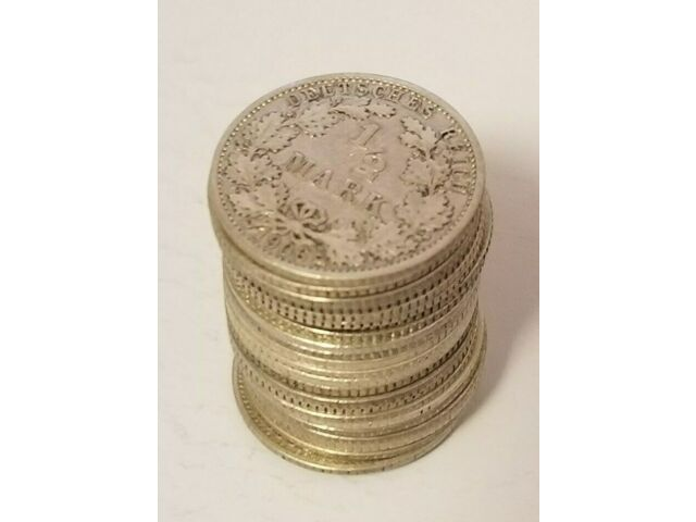 GERMANY 1/2 (0.5) MARK FULL ROLL (25 COINS) SILVER LOT 1905 - 1919 VERY RARE NR