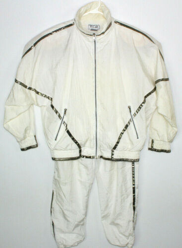 Vtg 90s Clipper Bay White Gold Accent Full Track Suit Jacket Pants Size Large