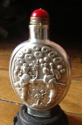 Rare Snuffbox Silver Snuff Bottle Object Antique Mint Condition Antique