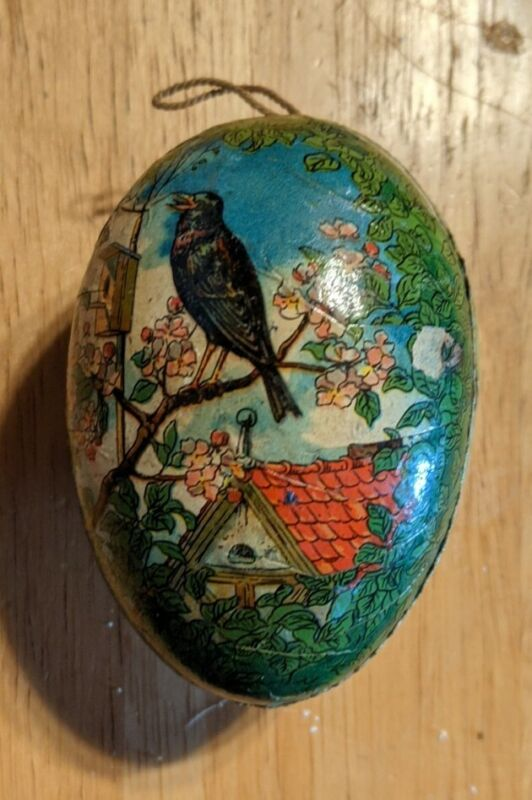Antique German Paper Mache Birds Easter Egg Candy Container Milk Glass Egg insid