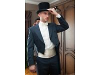 Luxury Wedding Royal Blue Tuxedo Tail Suit with Matching Trousers and Top Hat