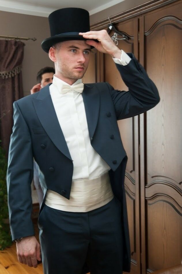 886ad4312084 Luxury Wedding Royal Blue Tuxedo Tail Suit with Matching Trousers and Top  Hat