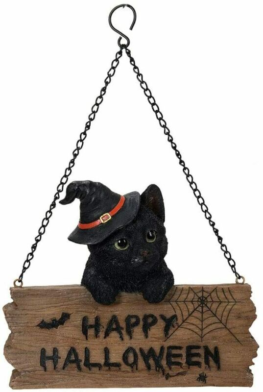 "Ebros Happy Halloween Black Kitten Cat Welcome Sign Door Wall Plaque 7"" Long"