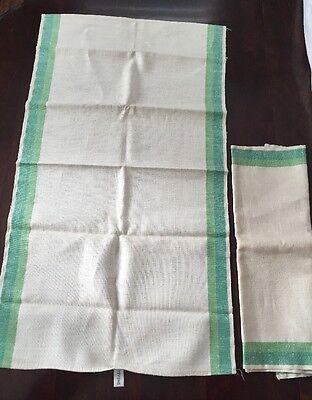 Vintage 2 unused Stevens green stripe plaid linen kitchen dish tea towel