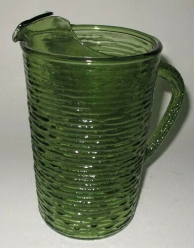 Vintage Anchor Hocking Soreno Tree Bark Green Glass Pitcher Ice Lip Mid Century