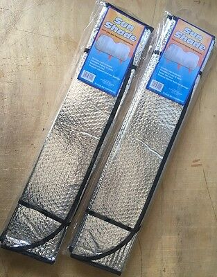 2 x Auto Windshield Sun Shade Car Cover**both side aluminum** Reflective Silver