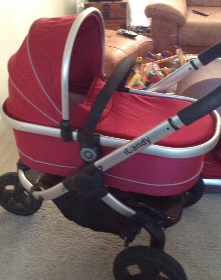 Icandy peach all terrain pushchair including carrycot,seat unit and car seat