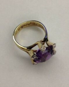 Ladies 14kt. (yellow with white) Gold, Amethyst and Diamond ring