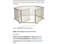 Costway wooden play pen 6 sides