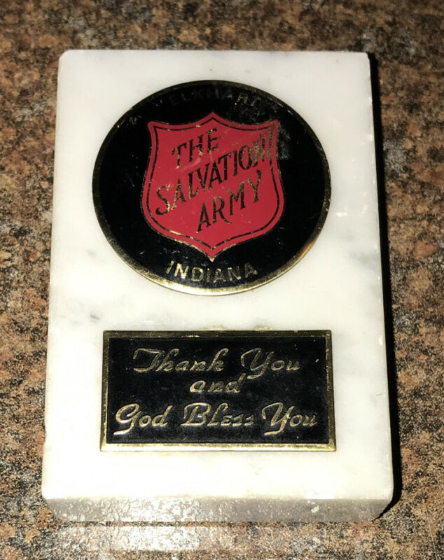 SALVATION ARMY ELKHART INDIANA MARBLE PAPERWEIGHT