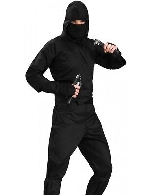 Deluxe Adult Ninja Costume Mens Black Warrior Samurai Martial (Deluxe Adult Ninja Kostüm)