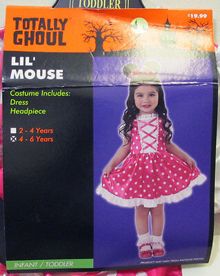 Girl Lil Mouse Minnie Infant Toddler Halloween Costume Pink Polka Dot Size 4-6