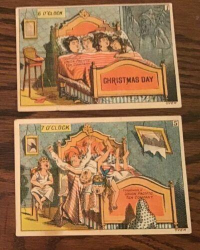 Victorian Trade Card Union Pacific Tea Company Dayton OH Christmas Day