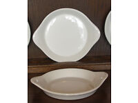French Porcelain, 4 Serving/Cooking dishes, white.