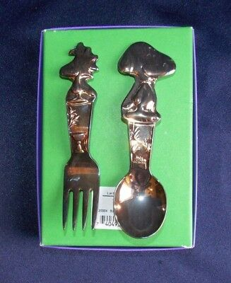 Vtg. Snoopy & Woodstock Silverplate Baby Feeding Set Spoon Fork Lunt Box Peanuts